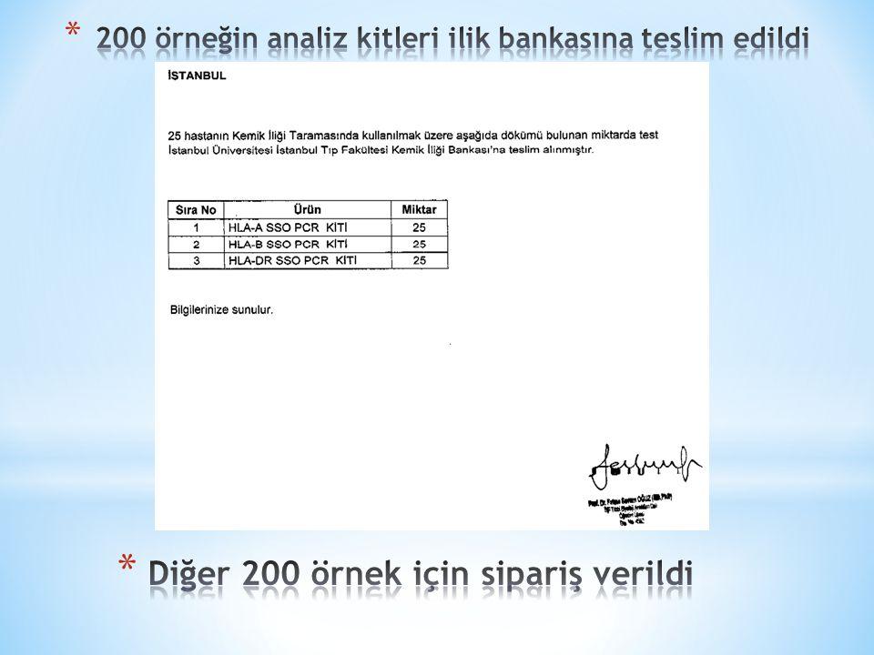 200 örneğin analiz kitleri ilik bankasına teslim edildi