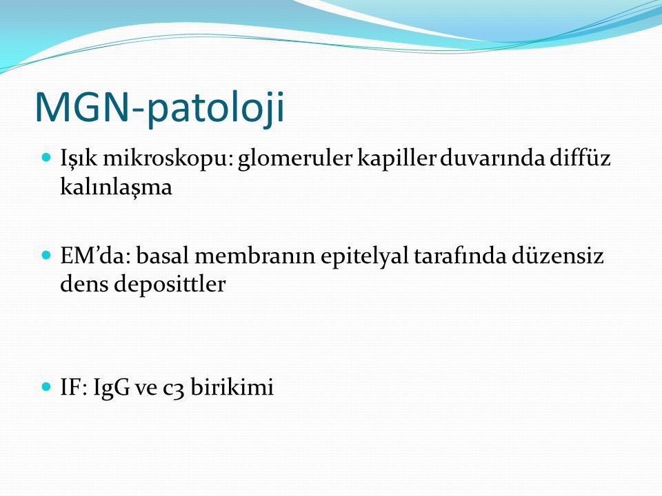 MGN-patoloji Işık mikroskopu: glomeruler kapiller duvarında diffüz kalınlaşma. EM'da: basal membranın epitelyal tarafında düzensiz dens deposittler.