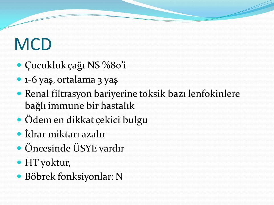 MCD Çocukluk çağı NS %80'i 1-6 yaş, ortalama 3 yaş