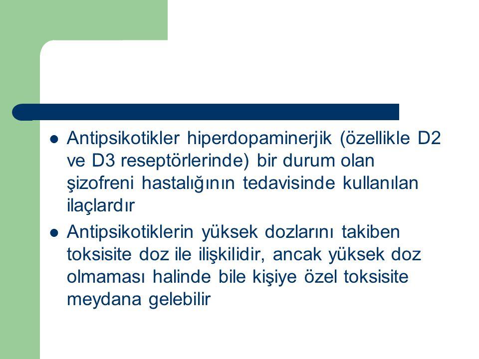 Antipsikotikler hiperdopaminerjik (özellikle D2 ve D3 reseptörlerinde) bir durum olan şizofreni hastalığının tedavisinde kullanılan ilaçlardır