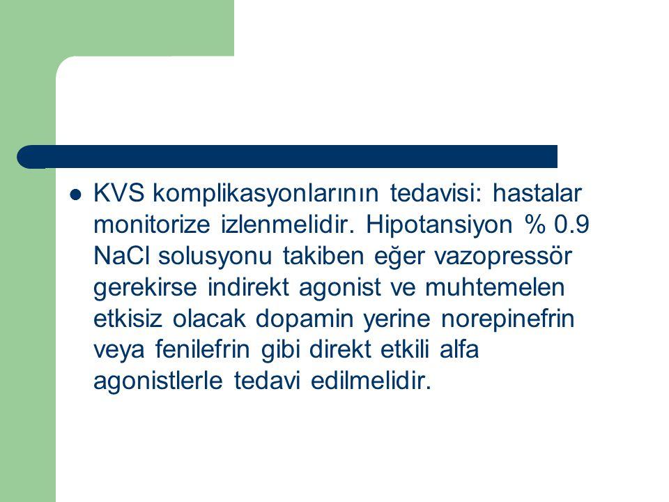 KVS komplikasyonlarının tedavisi: hastalar monitorize izlenmelidir