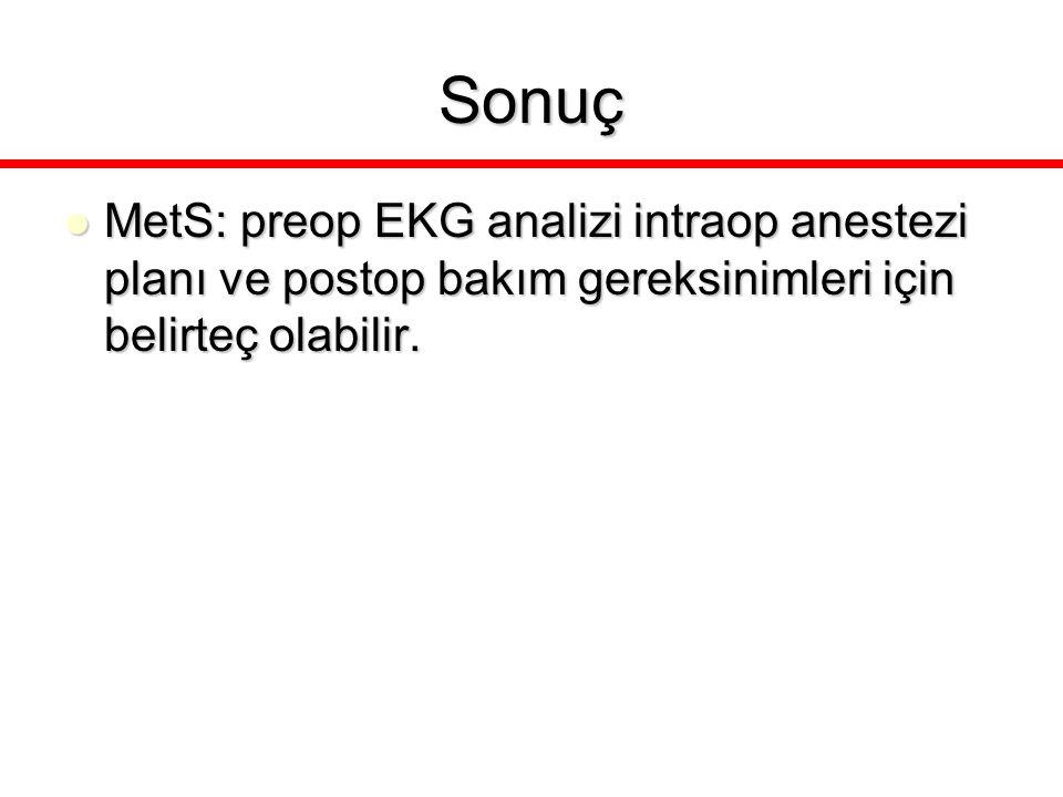 Sonuç MetS: preop EKG analizi intraop anestezi planı ve postop bakım gereksinimleri için belirteç olabilir.