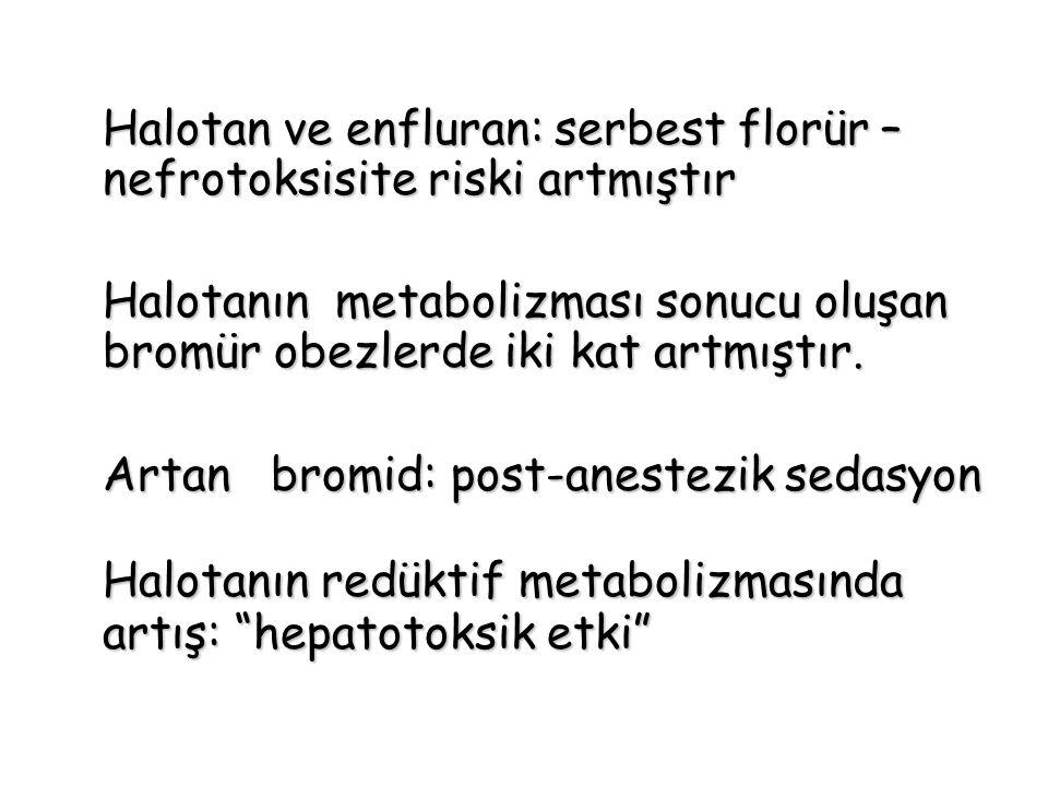 Halotanın redüktif metabolizmasında artış: hepatotoksik etki