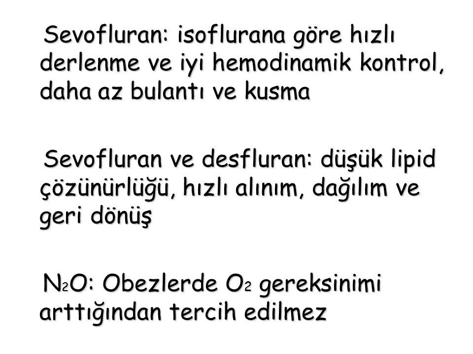 Sevofluran: isoflurana göre hızlı derlenme ve iyi hemodinamik kontrol, daha az bulantı ve kusma