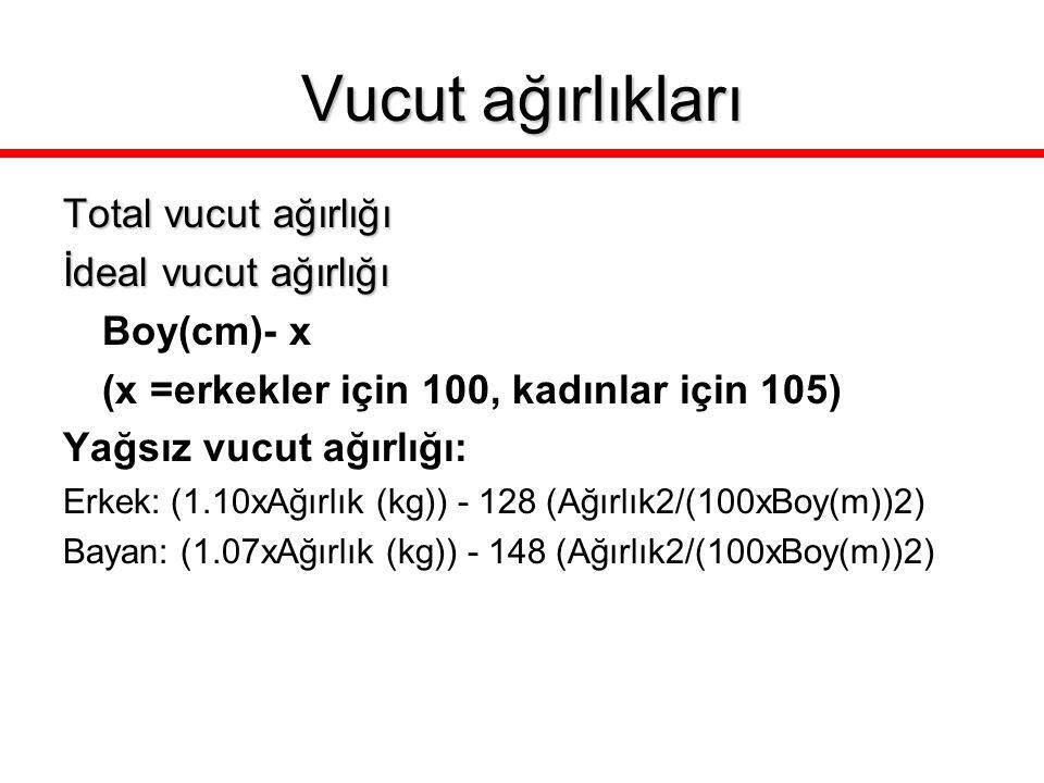 Vucut ağırlıkları Total vucut ağırlığı İdeal vucut ağırlığı Boy(cm)- x