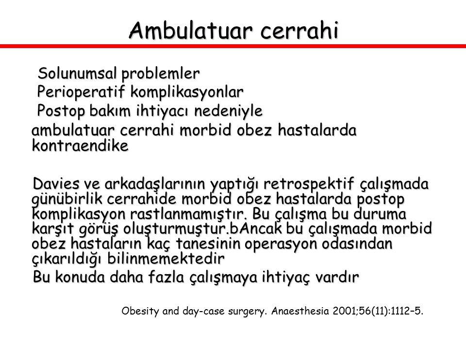 Ambulatuar cerrahi Solunumsal problemler. Perioperatif komplikasyonlar. Postop bakım ihtiyacı nedeniyle.