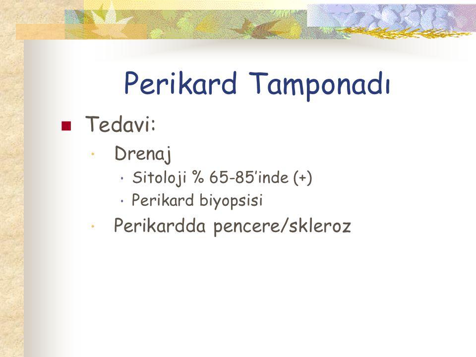 Perikard Tamponadı Tedavi: Drenaj Perikardda pencere/skleroz