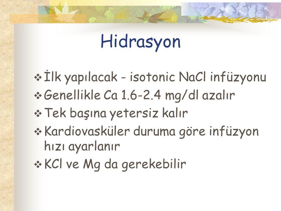 Hidrasyon İlk yapılacak - isotonic NaCl infüzyonu