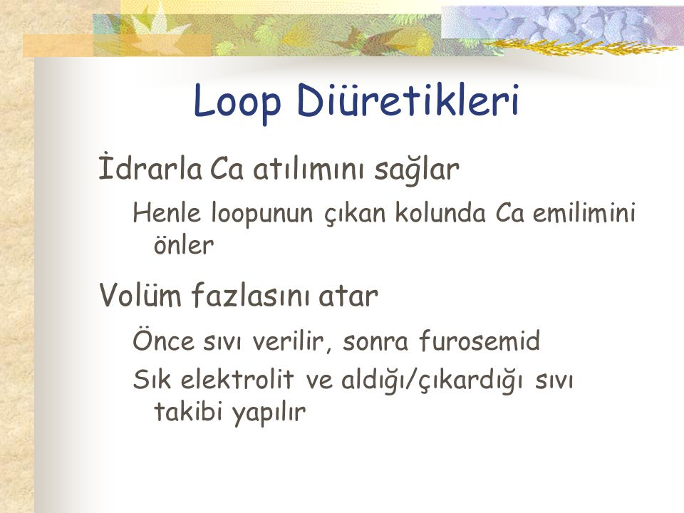 Loop Diüretikleri İdrarla Ca atılımını sağlar Volüm fazlasını atar