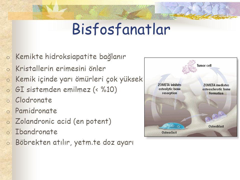Bisfosfanatlar Kemikte hidroksiapatite bağlanır