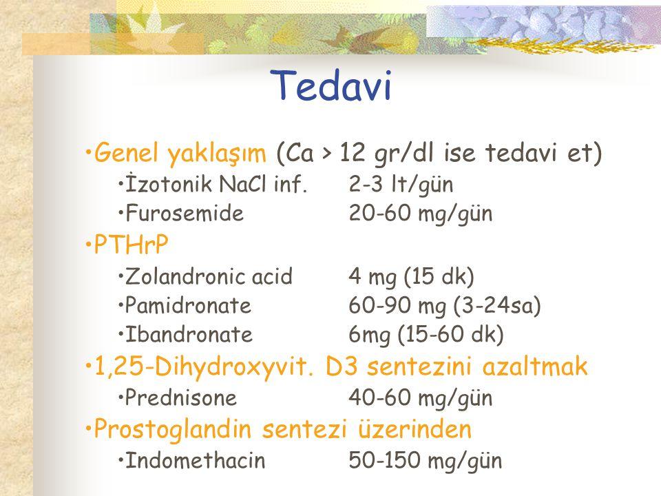 Tedavi Genel yaklaşım (Ca > 12 gr/dl ise tedavi et) PTHrP