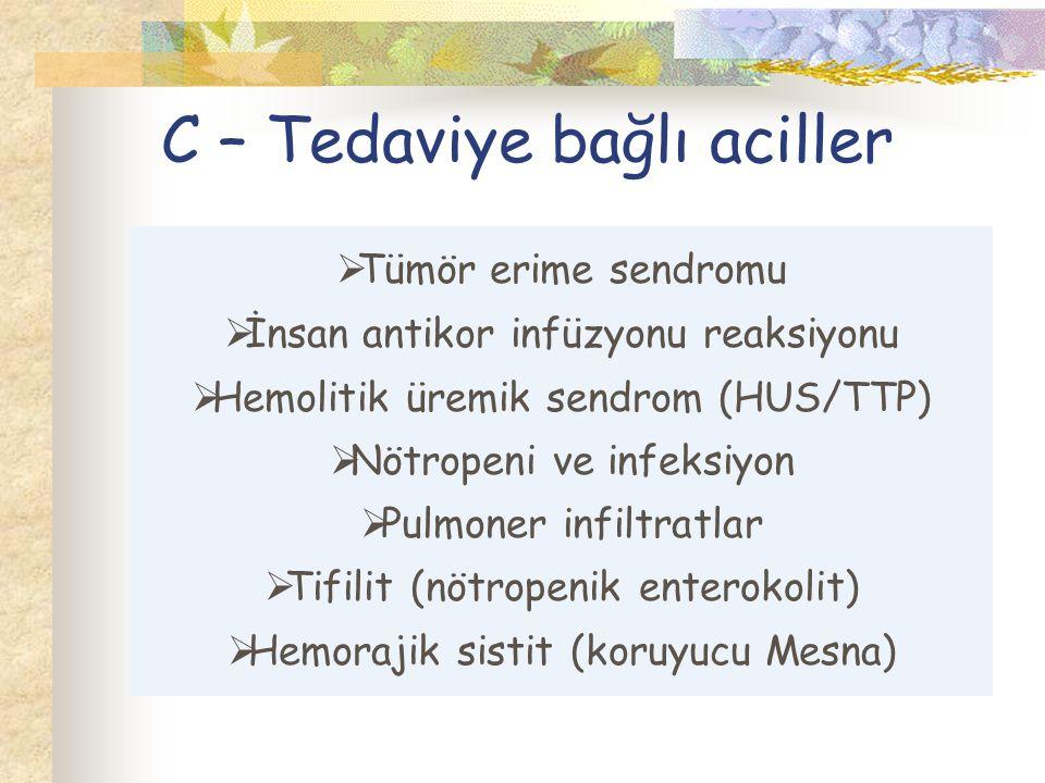 C – Tedaviye bağlı aciller