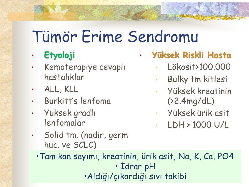 Tümör Erime Sendromu Etyoloji Kemoterapiye cevaplı hastalıklar