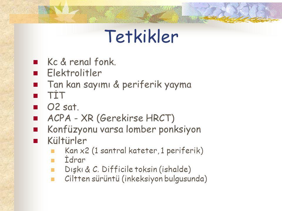 Tetkikler Kc & renal fonk. Elektrolitler