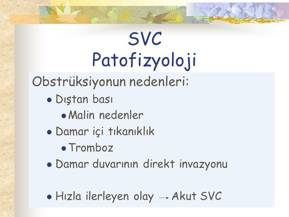 SVC Patofizyoloji Obstrüksiyonun nedenleri: Dıştan bası Malin nedenler