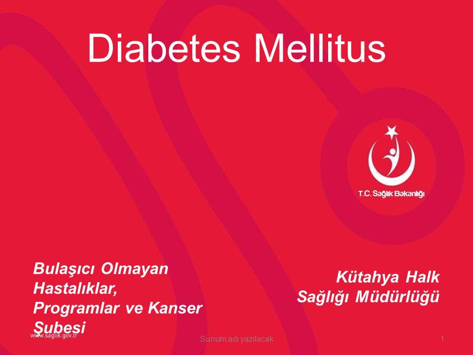 Diabetes Mellitus Bulaşıcı Olmayan Hastalıklar, Programlar ve Kanser Şubesi. Kütahya Halk Sağlığı Müdürlüğü.