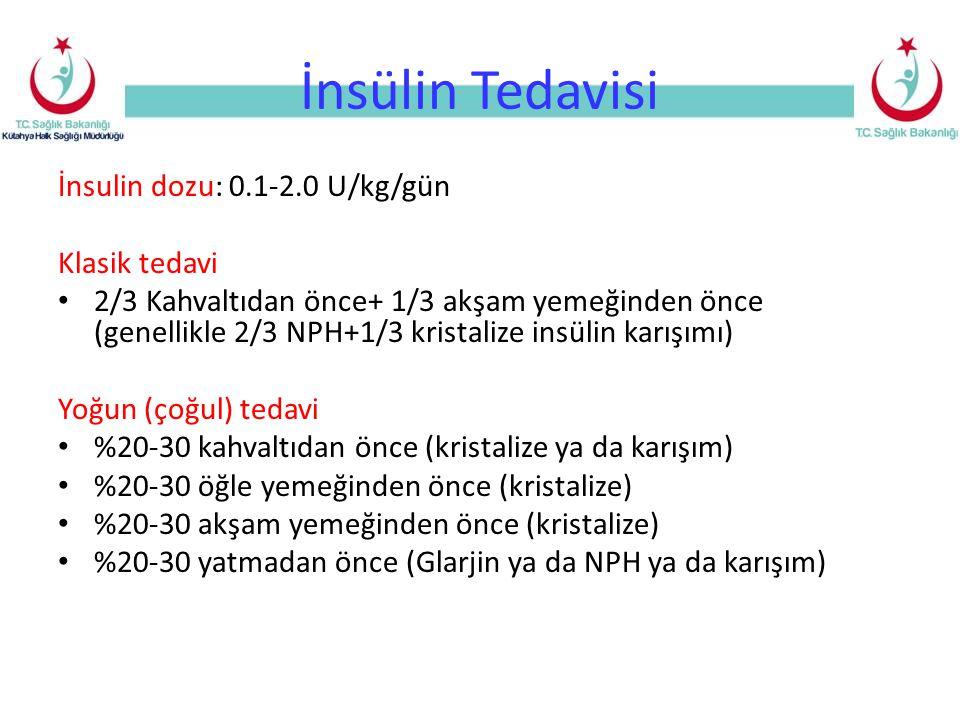 İnsülin Tedavisi İnsulin dozu: 0.1-2.0 U/kg/gün Klasik tedavi