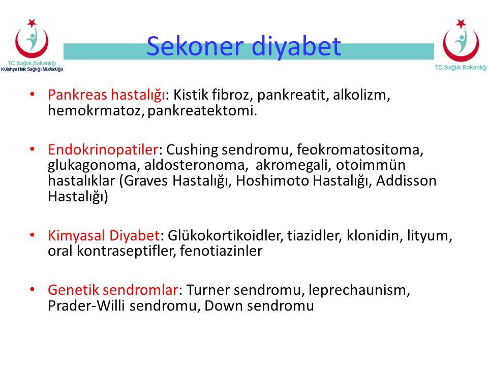 Sekoner diyabet Pankreas hastalığı: Kistik fibroz, pankreatit, alkolizm, hemokrmatoz, pankreatektomi.