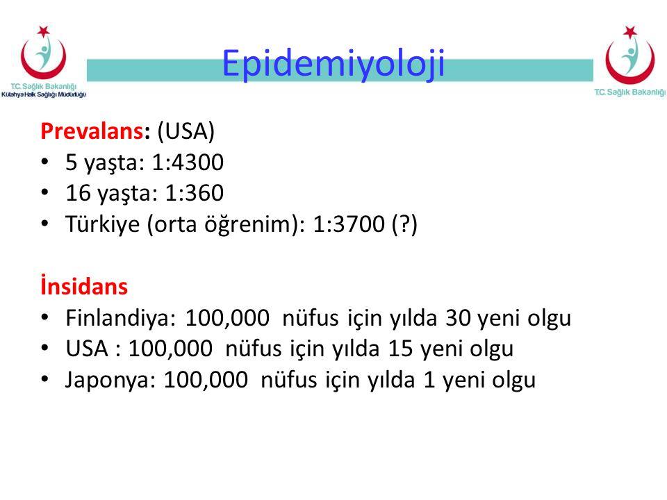 Epidemiyoloji Prevalans: (USA) 5 yaşta: 1:4300 16 yaşta: 1:360
