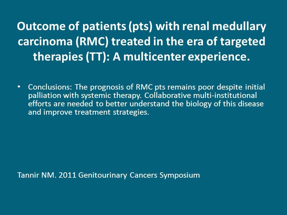 Outcome of patients (pts) with renal medullary carcinoma (RMC) treated in the era of targeted therapies (TT): A multicenter experience.