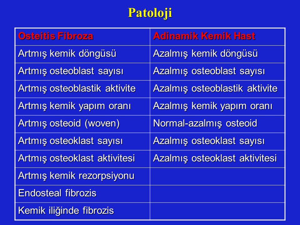 Patoloji Osteitis Fibroza Adinamik Kemik Hast Artmış kemik döngüsü