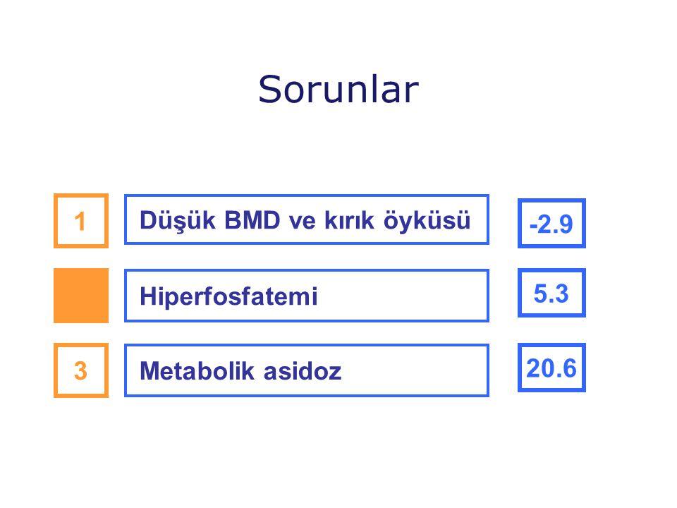 Sorunlar 1 -2.9 2 5.3 3 20.6 Düşük BMD ve kırık öyküsü Hiperfosfatemi