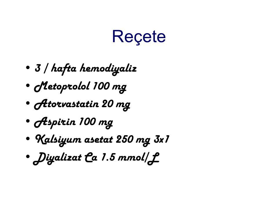 Reçete 3 / hafta hemodiyaliz Metoprolol 100 mg Atorvastatin 20 mg