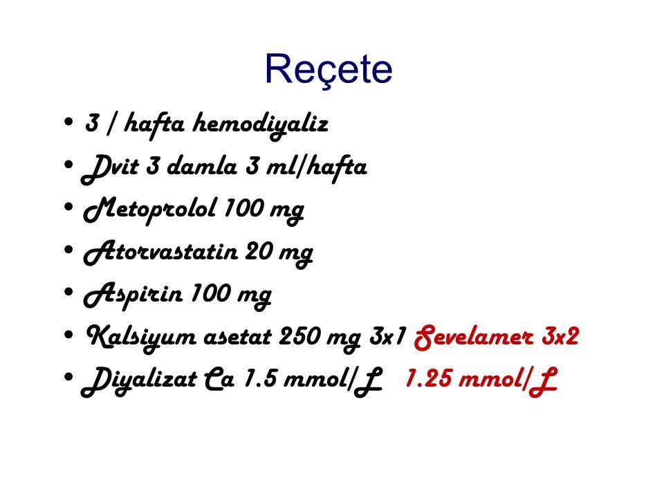 Reçete 3 / hafta hemodiyaliz Dvit 3 damla 3 ml/hafta Metoprolol 100 mg