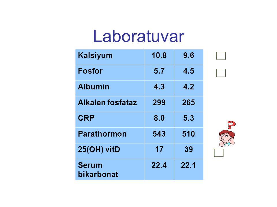 Laboratuvar    Kalsiyum 10.8 9.6 Fosfor 5.7 4.5 Albumin 4.3 4.2