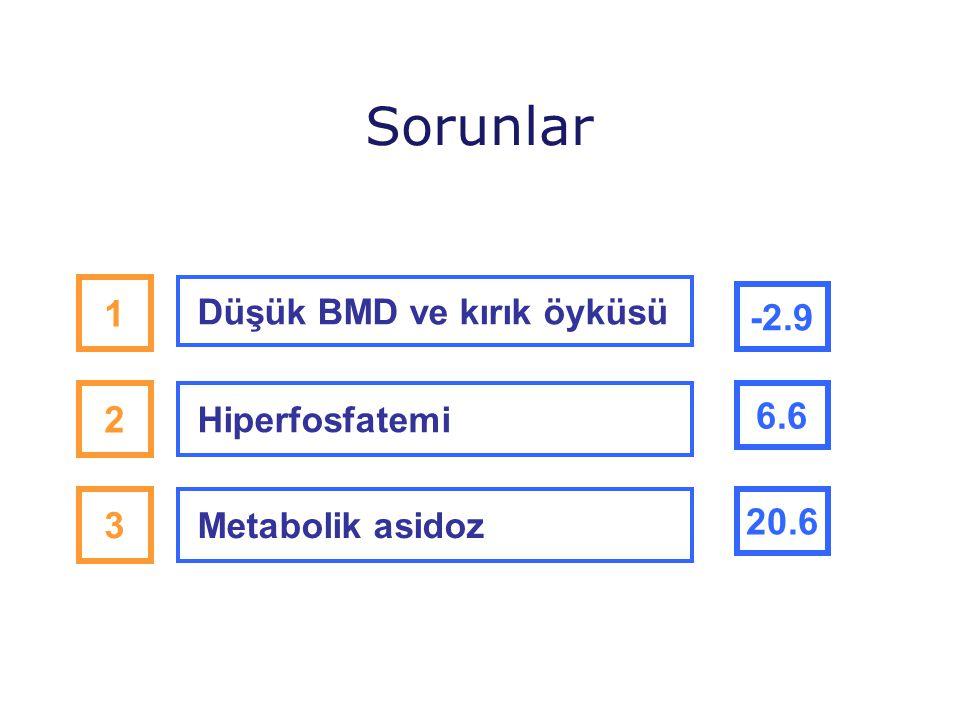 Sorunlar 1 -2.9 2 6.6 3 20.6 Düşük BMD ve kırık öyküsü Hiperfosfatemi