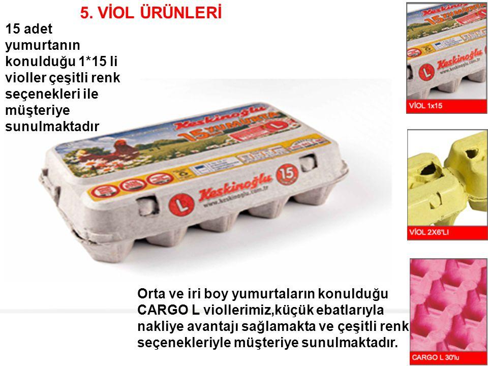 5. VİOL ÜRÜNLERİ 15 adet yumurtanın konulduğu 1*15 li violler çeşitli renk seçenekleri ile müşteriye sunulmaktadır.