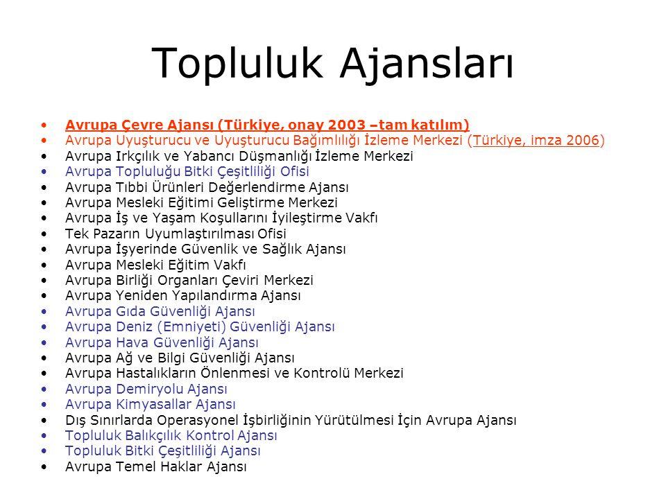 Topluluk Ajansları Avrupa Çevre Ajansı (Türkiye, onay 2003 –tam katılım)