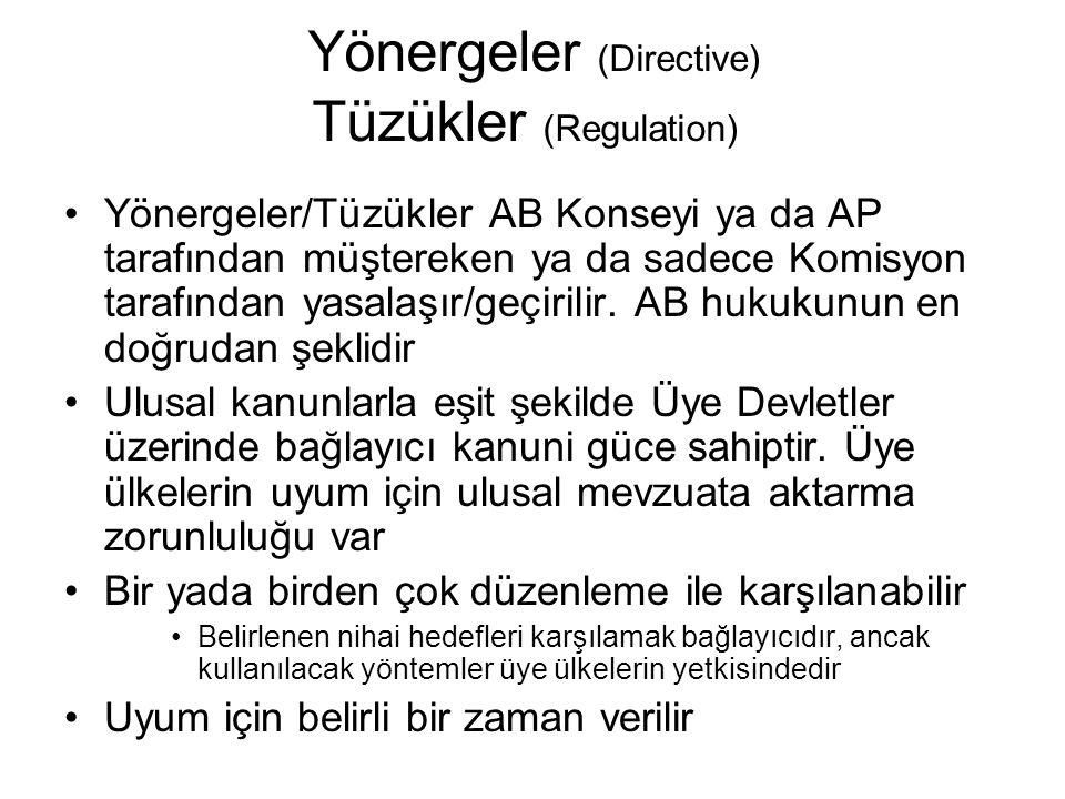 Yönergeler (Directive) Tüzükler (Regulation)