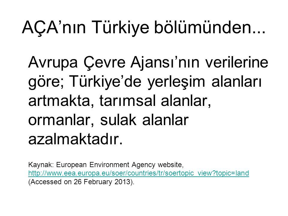 AÇA'nın Türkiye bölümünden...
