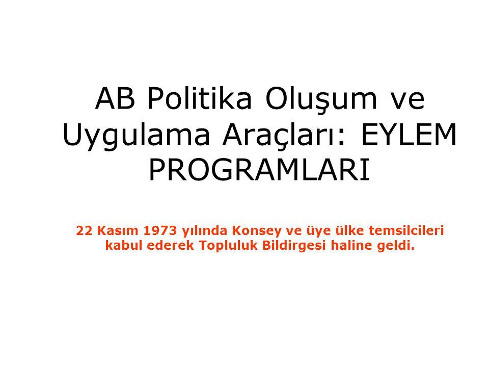 AB Politika Oluşum ve Uygulama Araçları: EYLEM PROGRAMLARI 22 Kasım 1973 yılında Konsey ve üye ülke temsilcileri kabul ederek Topluluk Bildirgesi haline geldi.