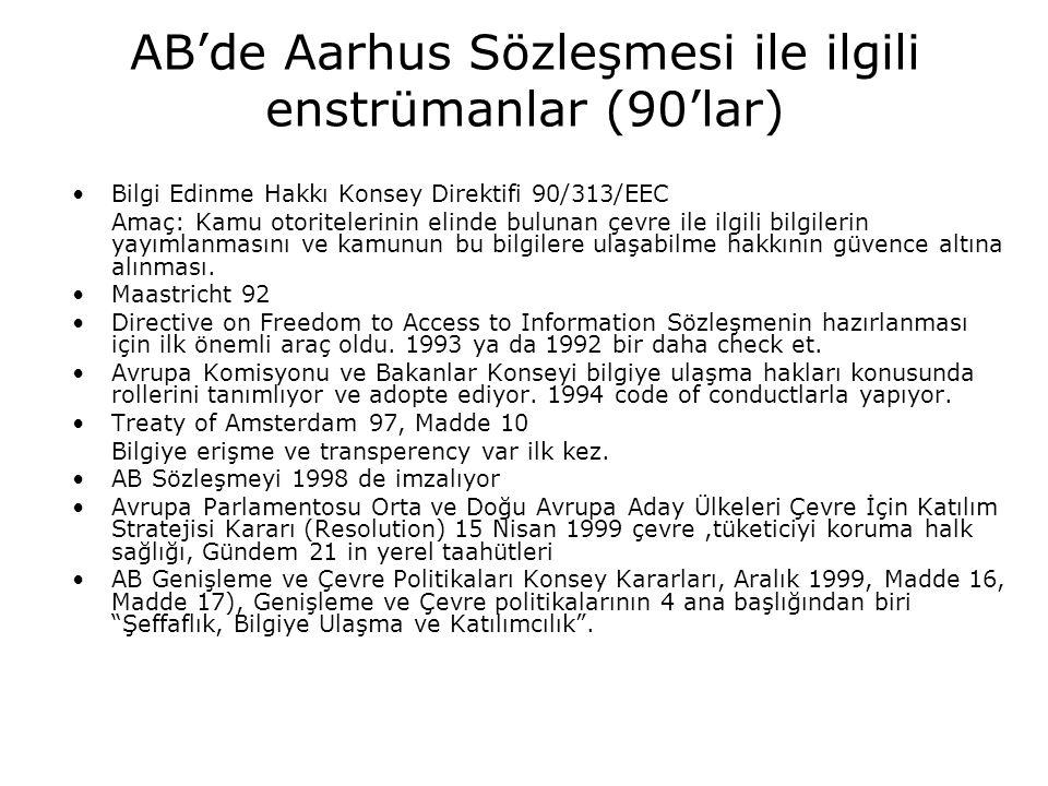 AB'de Aarhus Sözleşmesi ile ilgili enstrümanlar (90'lar)