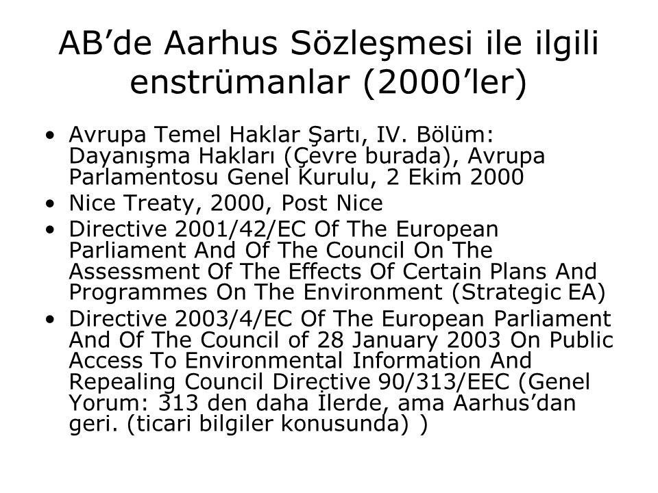 AB'de Aarhus Sözleşmesi ile ilgili enstrümanlar (2000'ler)