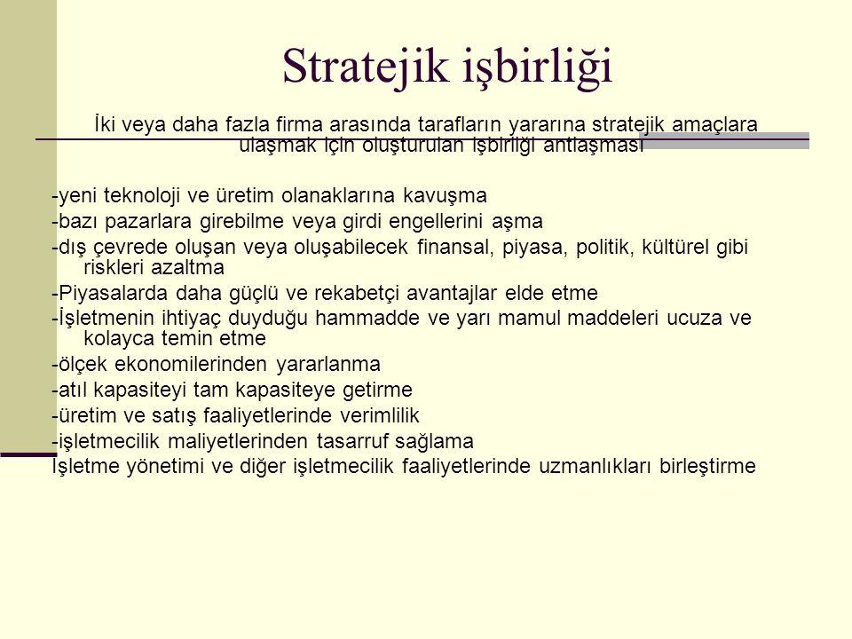 Stratejik işbirliği İki veya daha fazla firma arasında tarafların yararına stratejik amaçlara ulaşmak için oluşturulan işbirliği antlaşması.