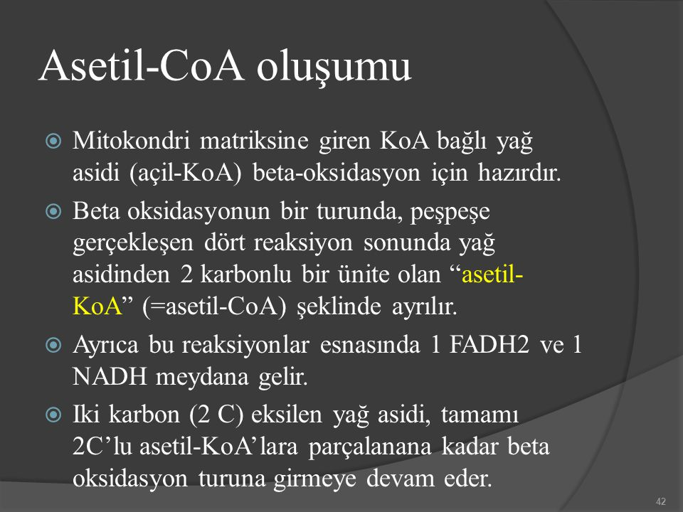 Asetil-CoA oluşumu Mitokondri matriksine giren KoA bağlı yağ asidi (açil-KoA) beta-oksidasyon için hazırdır.