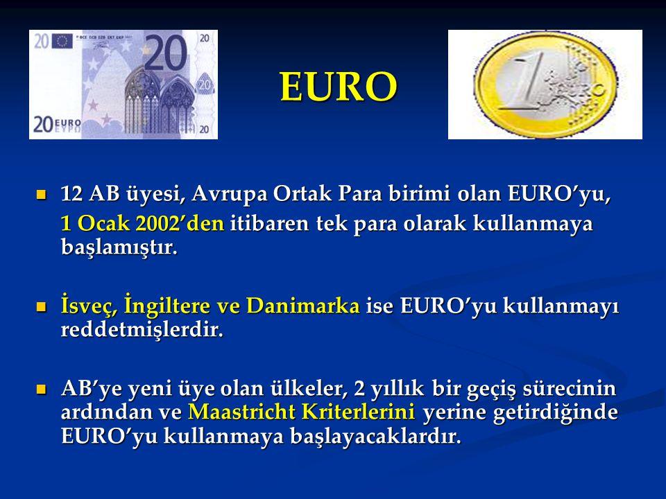 EURO 12 AB üyesi, Avrupa Ortak Para birimi olan EURO'yu,