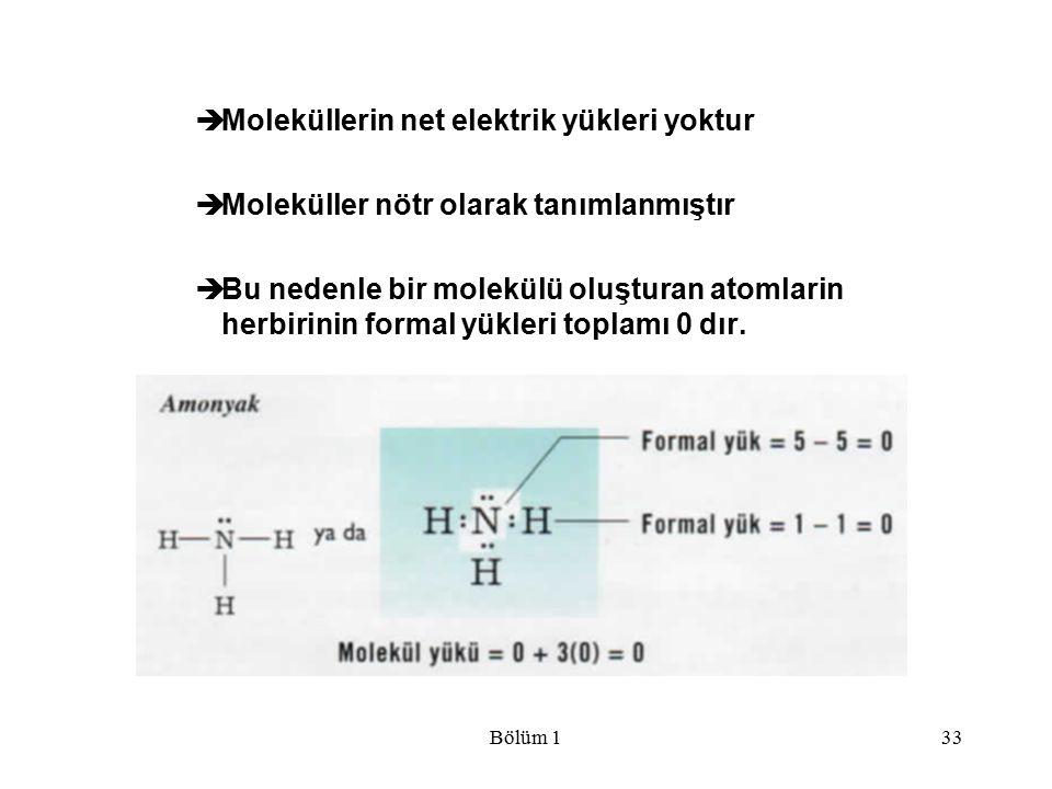 Moleküllerin net elektrik yükleri yoktur
