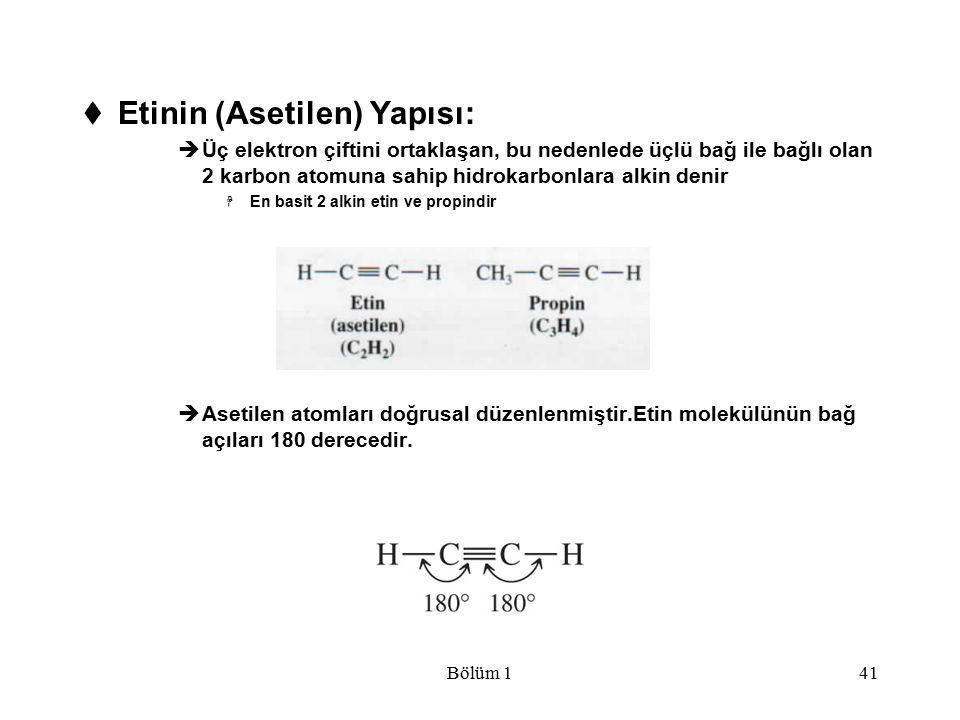 Etinin (Asetilen) Yapısı: