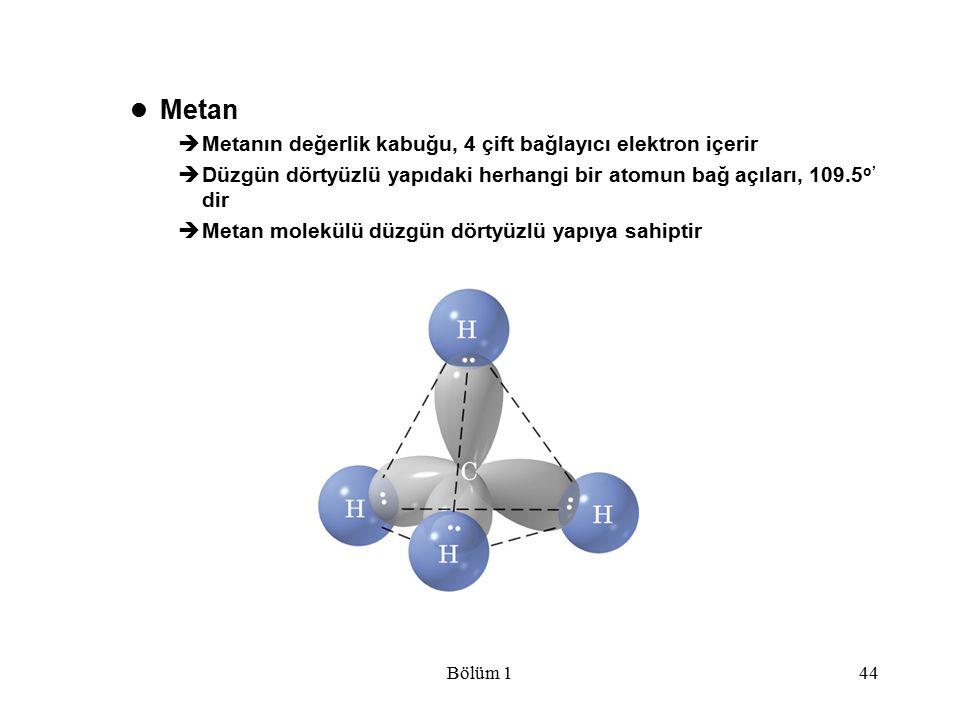 Metan Metanın değerlik kabuğu, 4 çift bağlayıcı elektron içerir