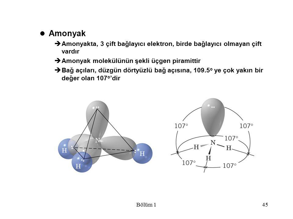 Amonyak Amonyakta, 3 çift bağlayıcı elektron, birde bağlayıcı olmayan çift vardır. Amonyak molekülünün şekli üçgen piramittir.