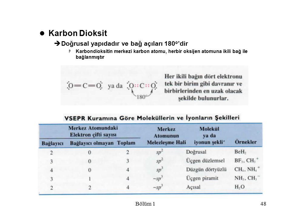 Karbon Dioksit Doğrusal yapıdadır ve bağ açıları 180o'dir Bölüm 1