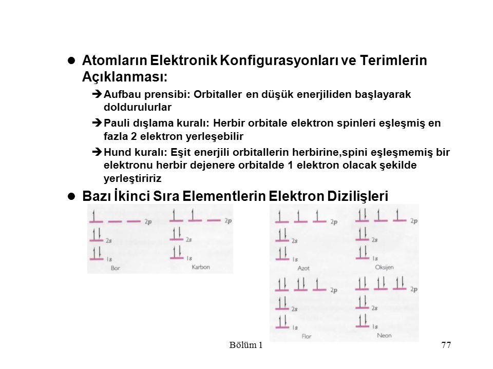 Atomların Elektronik Konfigurasyonları ve Terimlerin Açıklanması: