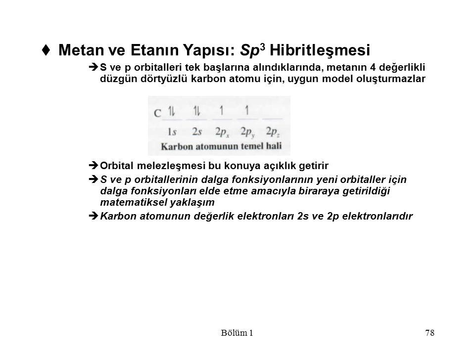 Metan ve Etanın Yapısı: Sp3 Hibritleşmesi