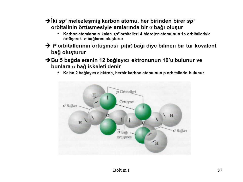 İki sp2 melezleşmiş karbon atomu, her birinden birer sp2 orbitalinin örtüşmesiyle aralarında bir s bağı oluşur