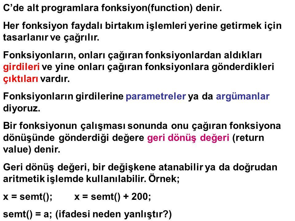 C'de alt programlara fonksiyon(function) denir.