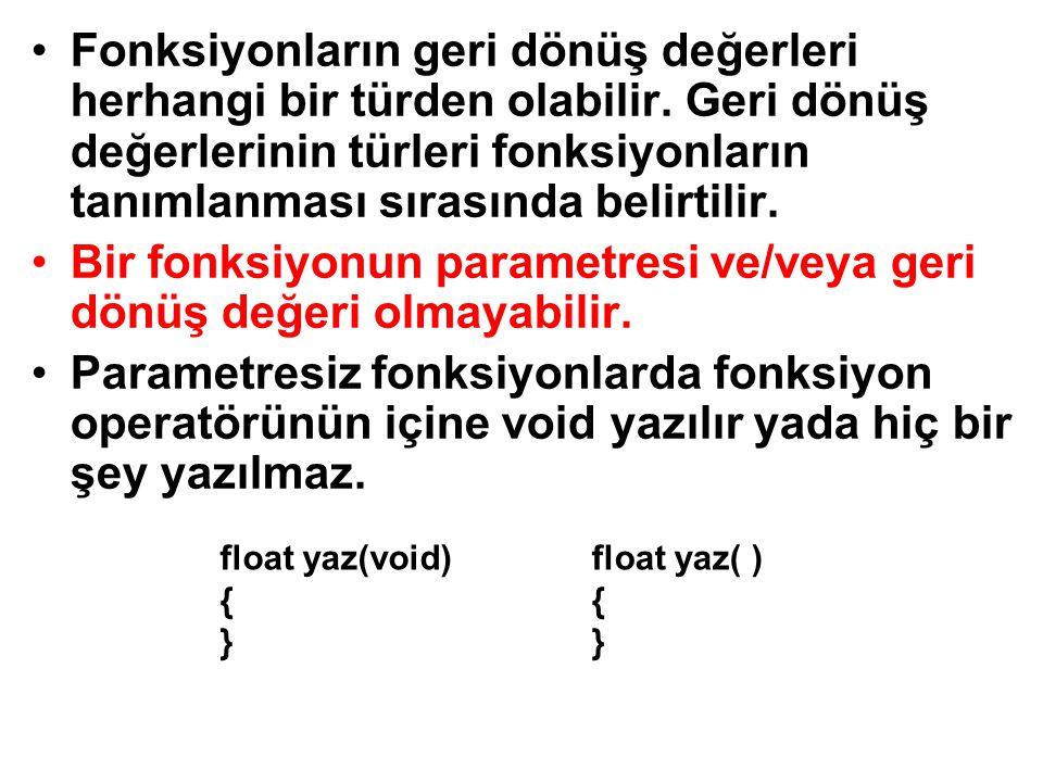 Bir fonksiyonun parametresi ve/veya geri dönüş değeri olmayabilir.